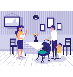 cute family in dining room icon vector image