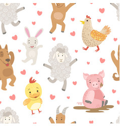 cute farm animals childish seamless pattern dog vector image