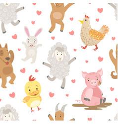 Cute farm animals childish seamless pattern dog vector