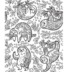 cute sloths with floral ornament in outline vector image