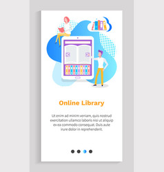 Digital library person with ebook modern device vector