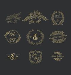 elegant floral monograms and borders vector image