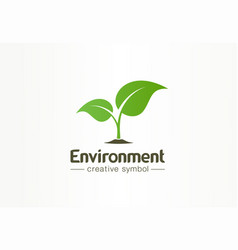 environment green leaf organic creative symbol vector image