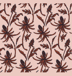 Floral botanical line art seamless patternretro vector
