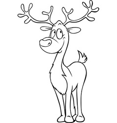 Funny reindeer - black outline on white - coloring vector