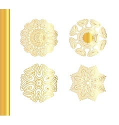 Geometric gold mandala set vector image