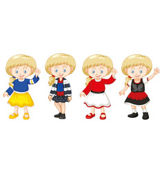 girl with happy face in different costumes vector image