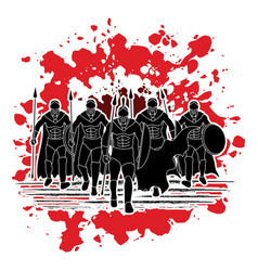 Group of spartan warrior roman fighter walking w vector