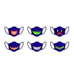halloween mask scary faces with pumpkin teeth vector image