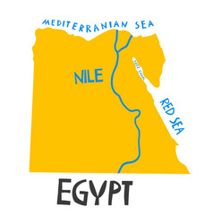 Hand drawn stylized map of egypt travel of arab vector