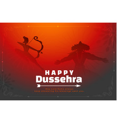 Happy dussehra background with lord rama killing vector