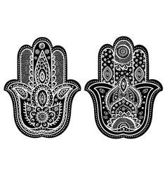 indian hand drawn hamsa with ornaments vector image