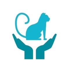 Isolated cat pet over hands design vector