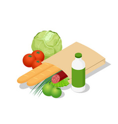 isometric different food in paper bag on wooden vector image