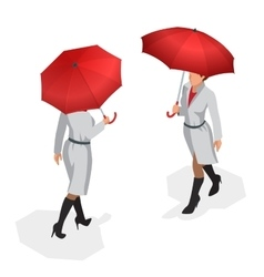 Isometric woman in autumn clothes with a red vector image