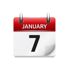 January 7 flat daily calendar icon Date vector