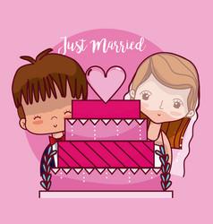 Just married card cartoon vector