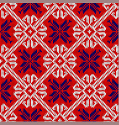 knitted pattern in national colors of norway vector image
