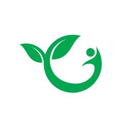 leaf human eco logo vector image