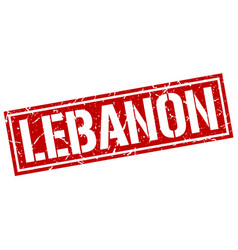 lebanon red square stamp vector image