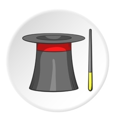 Magician hat and magic wand icon cartoon style vector image