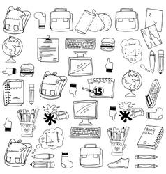 Many object school doodles stock vector