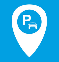 Map pointer with car parking icon white vector