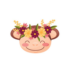 Monkey with flower wreath flora and fauna concept vector