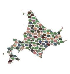 Mosaic map of japanese hokkaido of stones vector