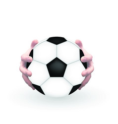 Naturalistic 3d model of football with hands of vector