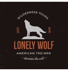 Old style wilderness label with wolf and vector