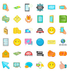 Online buying icons set cartoon style vector