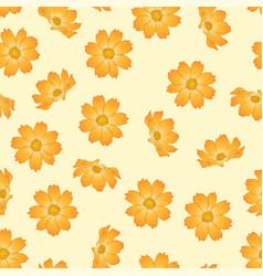 Orange yellow cosmos flower on beige ivory vector