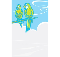 Parrots by foggy sea vector