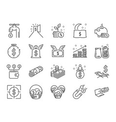 Passive income line icon set vector