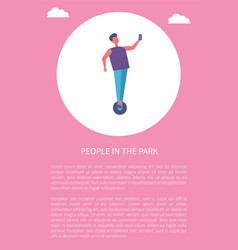 people in park poster man riding on segway phone vector image