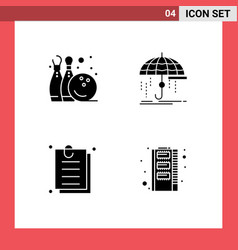 Pictograph set 4 simple solid glyphs bowling vector