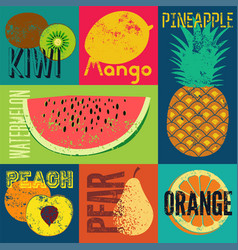 Pop art grunge style fruit poster set fruits vector