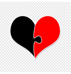 red and black heart made of two puzzle pieces vector image