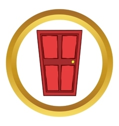 Red wooden door icon cartoon style vector