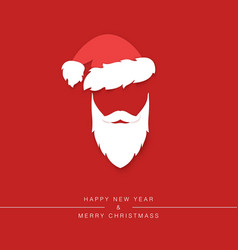 santa claus beard with mustache and hat vector image