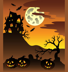 Scene with halloween mansion 3 vector