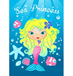 Sea princess swimming under the sea vector image