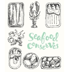 Seafood conserves vintage engraved drawn sketch vector image
