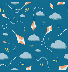 seamless colorful kites and stars night pattern vector image