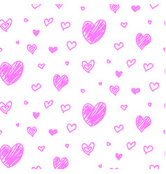 seamless hand drawn valentine day hearts vector image