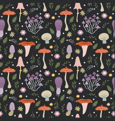 seamless pattern with whimsical mushrooms vector image