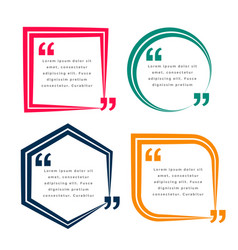Set four geometric quotes template design vector