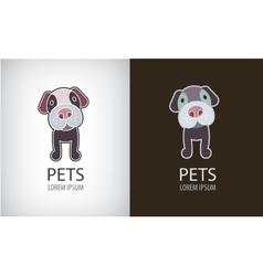 set funny cartoon dog logo icon vector image