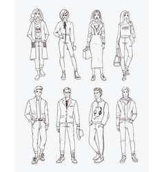 set of hand drawn stylish young people at street vector image